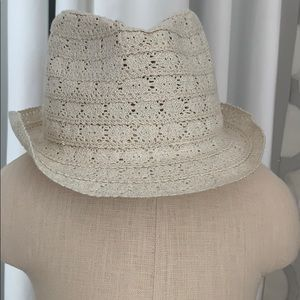 Off white straw hat with subtle sparkles all over